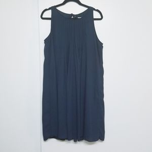 Nanette Lepore navy chiffon pleated swing dress 14